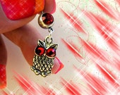 SALE--Belly Ring, Mini Owl with Crystal Ruby Red Eyes Belly Button Jewelry, For Women and Teens 1A125