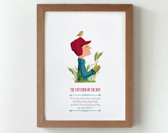 Illustration. The catcher in the rye. J.D.Salinger.Print. Wall art. Art decor. Hanging wall Printed art Home Gift idea. Bedroom. Sweet home.
