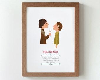 Illustration. Harold And Maude. Hal Ashby. Print. Wall art. Art decor. Hanging wall. Printed art Decor home. Gift idea. Bedroom. Sweet home.