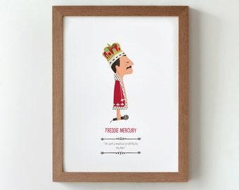 Illustration. Freddie Mercury. Queen. Print. Wall art. Art decor. Hanging wall. Printed art. Decor home. Gift idea. Bedroom. Sweet home.