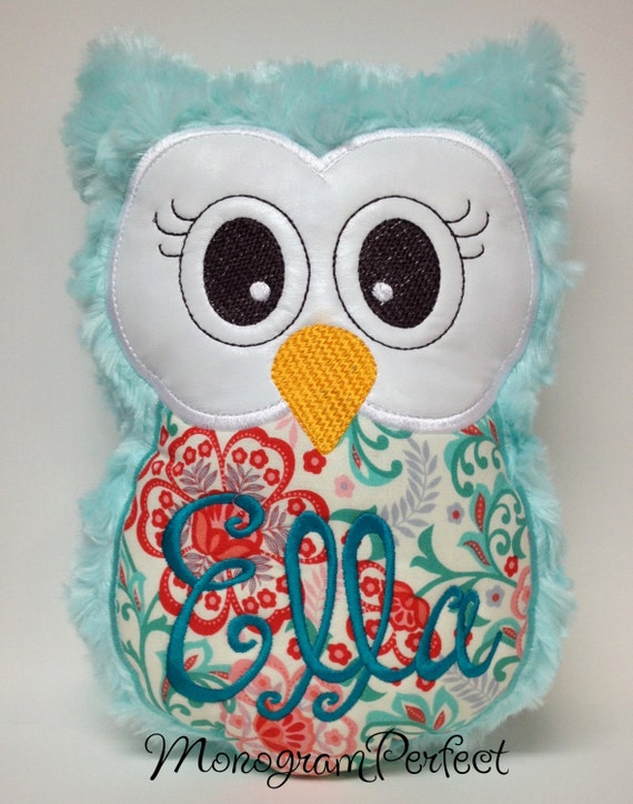 Aqua Owl Reading Buddy Pillow Soft Toy by MonogramPerfect on Etsy