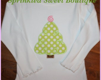 Custom Applique Whimsy Monogram Christmas Tree Shirt Onsie Perfect First Christmas Shirt Matching Brothers Available
