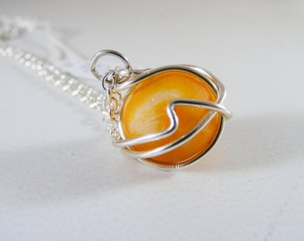 Orange Seaglass Marble Necklace