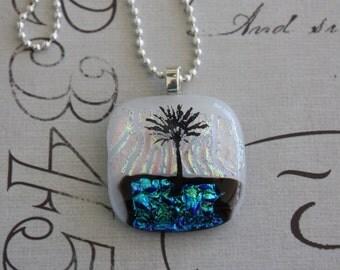 Fused Glass Palm Tree Pendant