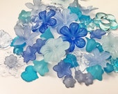 Frosty Blue Lucite Flower Bead Mix - 100 pieces