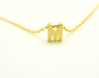 Monogram Necklace - Initial Necklace - Gold Necklace - Letter Necklace - Bridesmaids Gift - Mint Pendant Necklace - Layering Necklace