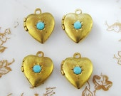 Vintage Brass Heart Lockets Charms with Turquoise Swarovski Rhinestone (4)