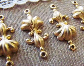 Raw Brass Fleur de Lis & Shell Connectors Stampings - 4