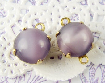 Vintage 8mm Purple Amethyst Moonstone Glass Stones in Brass Settings Drop or Connector - 6