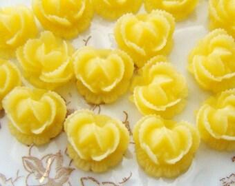 Ruffled Rose10mm Flower Cabochon Lemon Yellow - 6