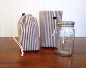 Mason Jar Carrier bag - Quart single Jars to Go blue ticking stripe mason canning jar lunch snack drink bag