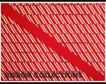 "3/8"" Candy Stripe Red Printed Grosgrain Ribbon"