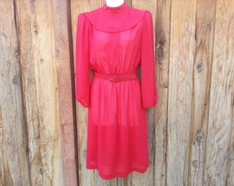 Vintage Red Knee Length Dress with Ruffle Collar - Size S (Petite)
