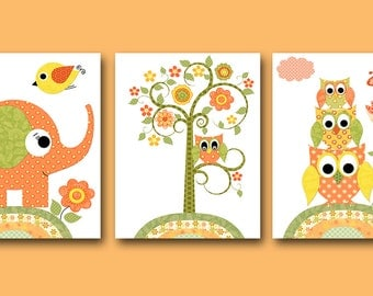 Owl Decor Owl Nursery Elephant Nursery Baby Girl Nursery Decor Children Art Print Baby Nursery Print Girl set of 3 Tree Orange Green