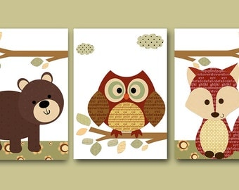 Childrens Room Kids Art Kids Wall Art Baby Boy Nursery Baby Boy Room Decor Baby Nursery Decor set of 3 Brown Red Fox Nursery Owl