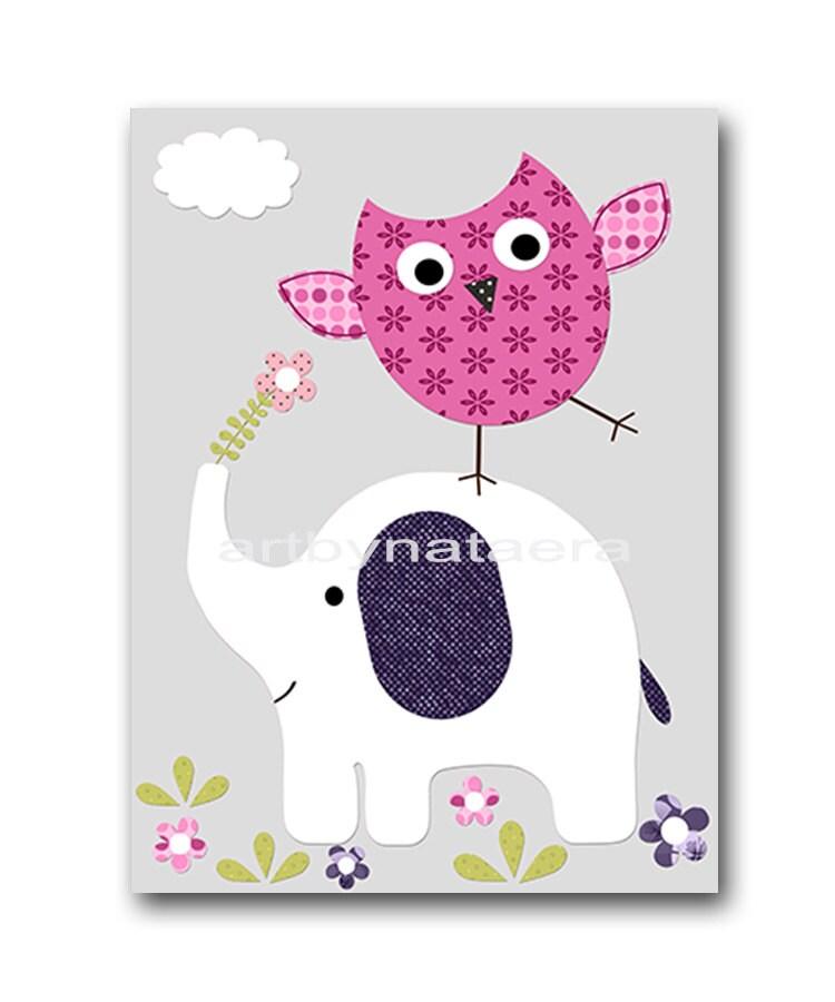 Owl Decor Elephant Nursery Baby Girl Nursery Decor Baby