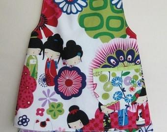 "Bright Alexander Henry  ""Kaori Kokeshi""  print toddler girl outfit size 4T"