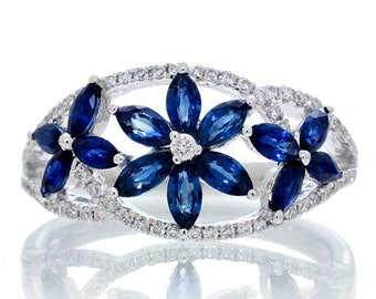 18K White Gold Floral Marquise Sapphire and Diamond Anniversary Gemstone Band