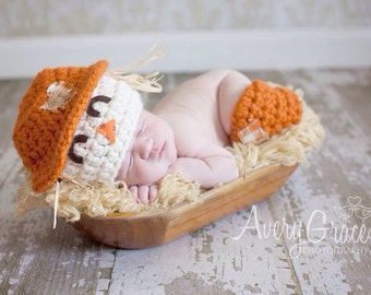 Scarecrow Baby Hat and Leg Warmers Photography Prop Fall