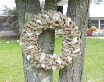 Burlap Bubble Wreath /  17inch