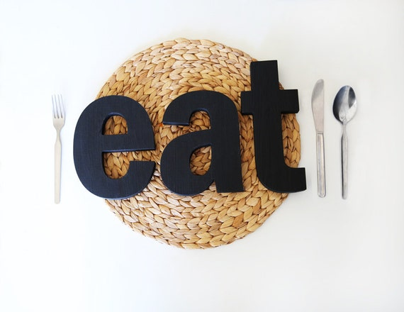 Wooden Letters Word Sign Custom Colors Alphabet Decor For Kitchen Home