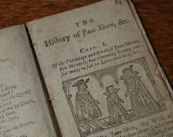 Antique 18th century book pages from the Secret Lives of the Most Celebrated Beauties