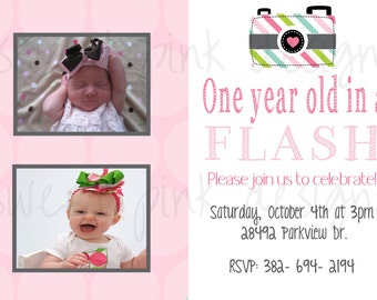 Camera- In a Flash Party- Invitation