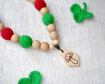 Mushroom Necklace,Teething necklace with teether,Mommy necklace,Wrap Baby Carrier,Wooden Nursing Necklace,Amanita child jewelry