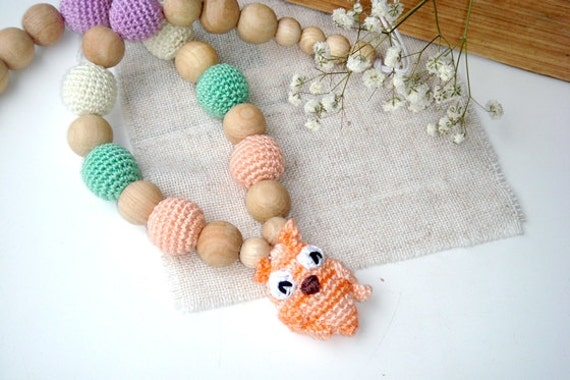 Pastel Rainbow Teething necklace,Owl Toy,Nursing Necklace,Breastfeeding,BabyWearing necklace,Gifr baby shower,chewing beads,teething jewelry
