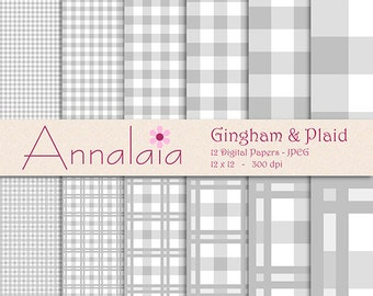 INSTANT DOWNLOAD Digital Paper Pack: Silver Gray and White Gingham Plaid Checks Squares 12x12 8,5x11 Scrapbook Paper 393