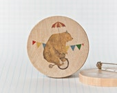 Illustrated wooden brooch - Bruno the Bear