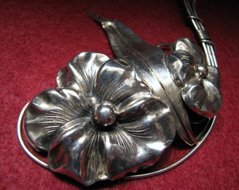 BIG Vintage DOUBLE PANSY Bouquet Brooch in Sterling Silver -- 24.0g, Matching Earrings Available