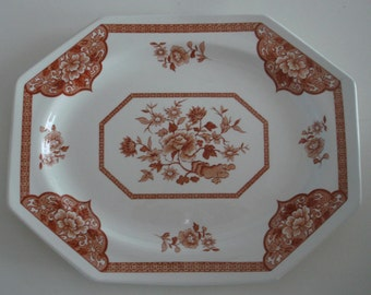 Vintage Royal Staffordshire Old Pekin Brown Ironstone Platter J & G Meakin