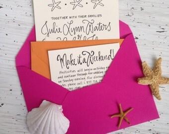 Beach Wedding Invite ~ Nautical Wedding Invitations ~ Destination Wedding Invitation Suite ~ Calligraphy Wedding Invitation ~ Starfish