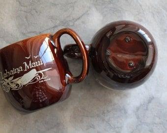 Lahaina Maui Souvenir Coffee Mugs, Set of 2