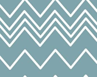 French Bull Ziggy  Zig Zag Blue White - 1/2 Yard Chevron  -  by Jackie Shapiro for Windham Fabrics - 36536-3