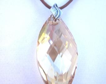 Swarovski Pendant Necklace, Swarovski Golden Shadow Navette Necklace, Champagne Swarovski on Leather Cord