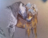 Original horse artwork pastel sketches equine friends