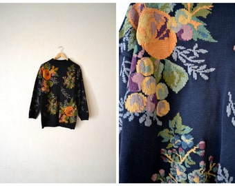 Vtg Floral Print Knitted Sweater