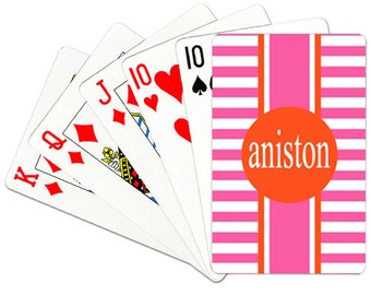 Personalized Playing Cards Monogrammed Deck of Cards Custom Card Deck Striped Playing Cards Choose Colors
