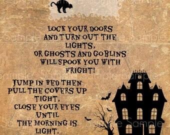 Primitive Halloween Haunted House Poem Feedsack Logo Primitive Label Jpeg Image Digital File