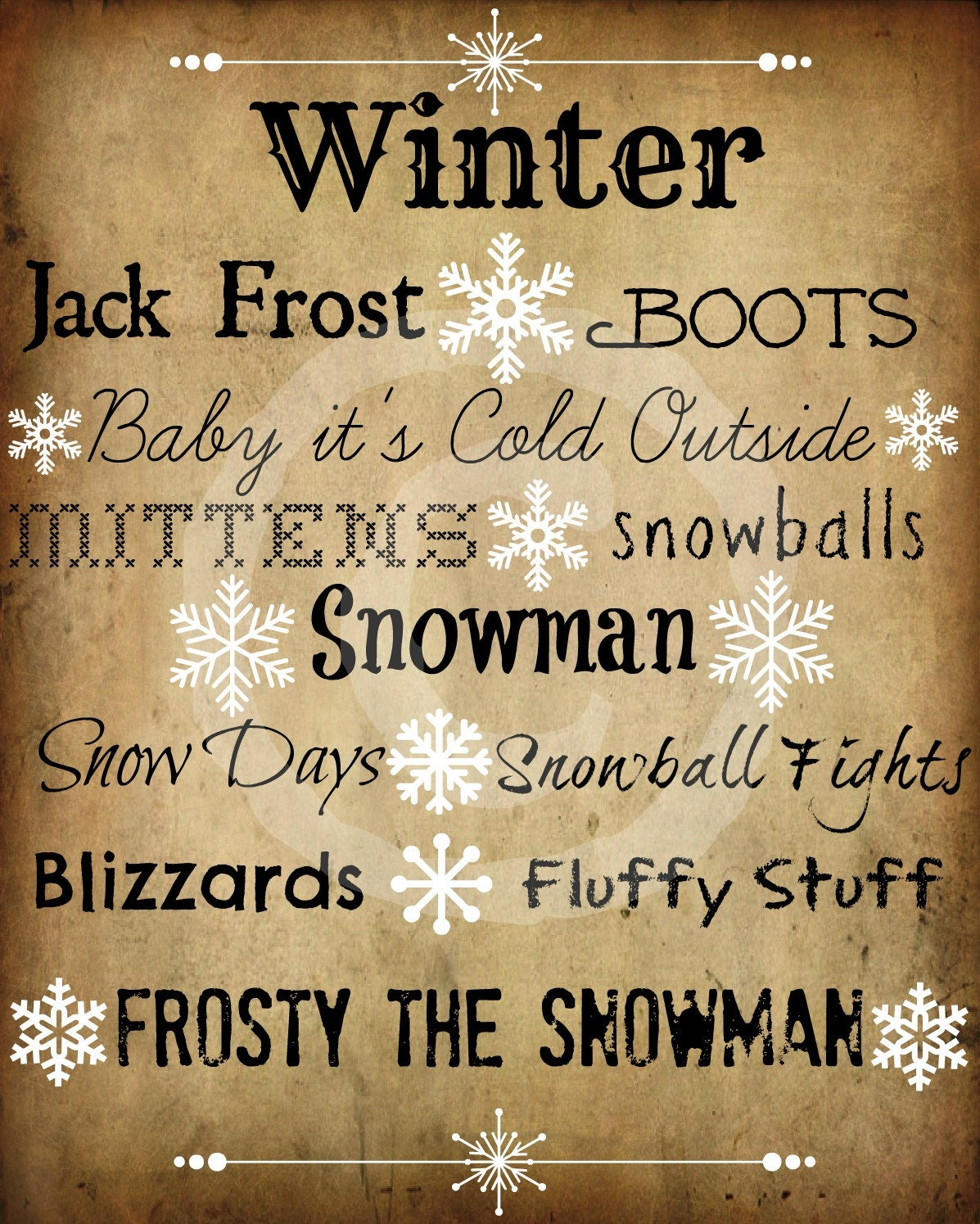 Winter Quotes: Primitive Winter Sayings Snowflake Word Art Pantry Logo Jpeg
