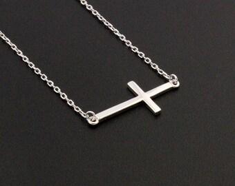 Sideways Cross necklace  Sterling silver sideways cross necklace (N-01)