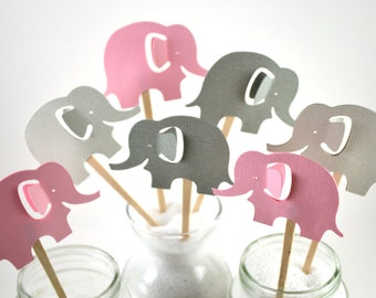 12 Elephant Cupcake Toppers / Elephant Baby Shower/ Grey Elephant Cupcake Toppers / Pink Elephant Party Invitation / Baby Shower Cupcakes