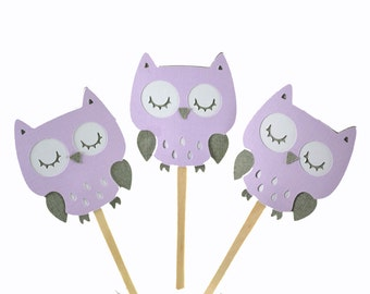 12 Purple Owl Cupcake Toppers / Owl Baby Shower /Owl Birthday Party / Owl Invitation / Baby Shower Decor / Owl Cake Supply
