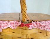Vintage Woven Picnic Basket Willow Spring Easter Wood Lid Storage Organization