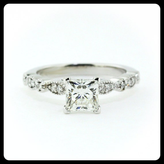 Reserved Vintage Style Princess Cut Engagement Ring Diamond
