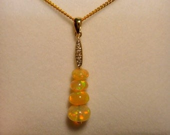 Opal & Diamond 14ct Yellow Gold Pendant, Solid Opal Beads item 60459.