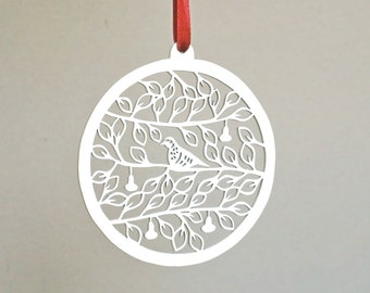 wooden Christmas ornament, white, Partridge in a Pear Tree, rustic Christmas, Christmas decor, laser cut,