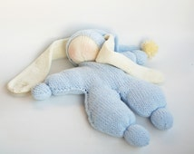 Waldorf knitted Rabbit  doll for small babies - pdf knitting pattern